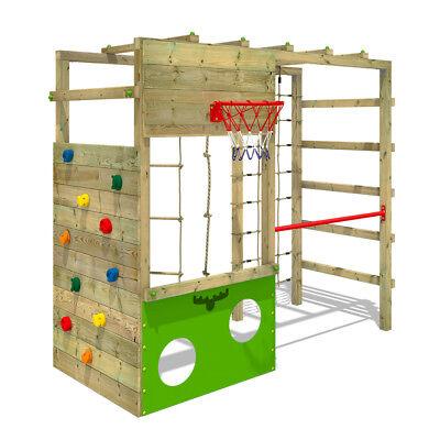 FATMOOSE Klettergerüst Spielturm CleverClimber Club XXL Kletternetz Holz Garten