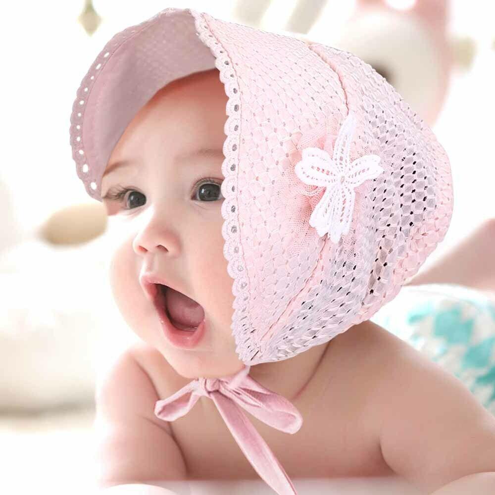 9e142044039 Newborn Hat Baby Girl Sun Summer Infant Beach Pure Color Cap Lace Bonnet  Pink UK