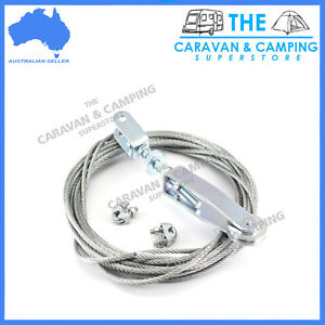 HAND BRAKE CABLE KIT - ADJUSTER 8M CABLE 4MM CLAMPS TRAILER CAMPER CARAVAN BOAT