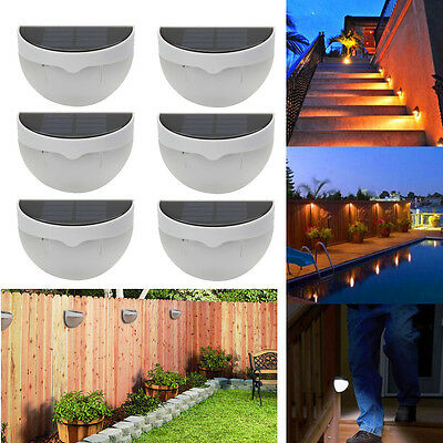 Lot6 Outdoor Solar Power 6 LED Sensor Garden Light Wall Fence Lamp Waterproof