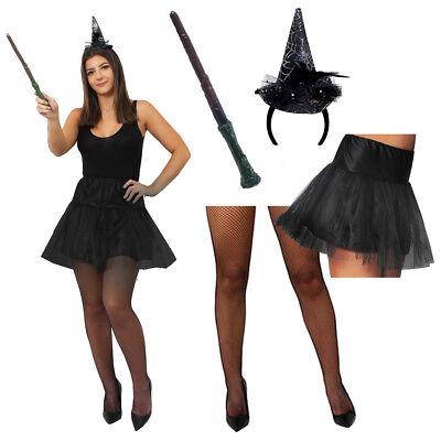 WOMENS HALLOWEEN COSTUME SEXY WITCH FANCY DRESS SET BLACK HAT TUTU WAND - Tight Black Dress Halloween Costumes