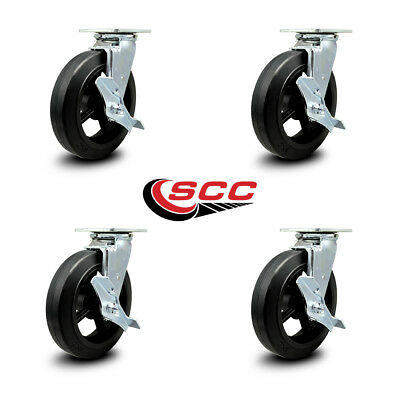 Scc 8 Rubber On Cast Iron Wheel Swivel Casters Wbrakes - Set Of 4