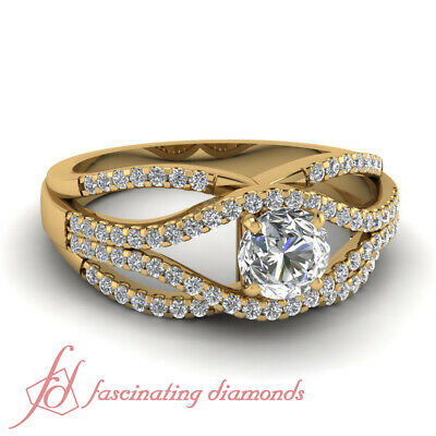 1.25 Carat Swirl Engagement Rings Pave Set With Round Cut Diamond In Center GIA