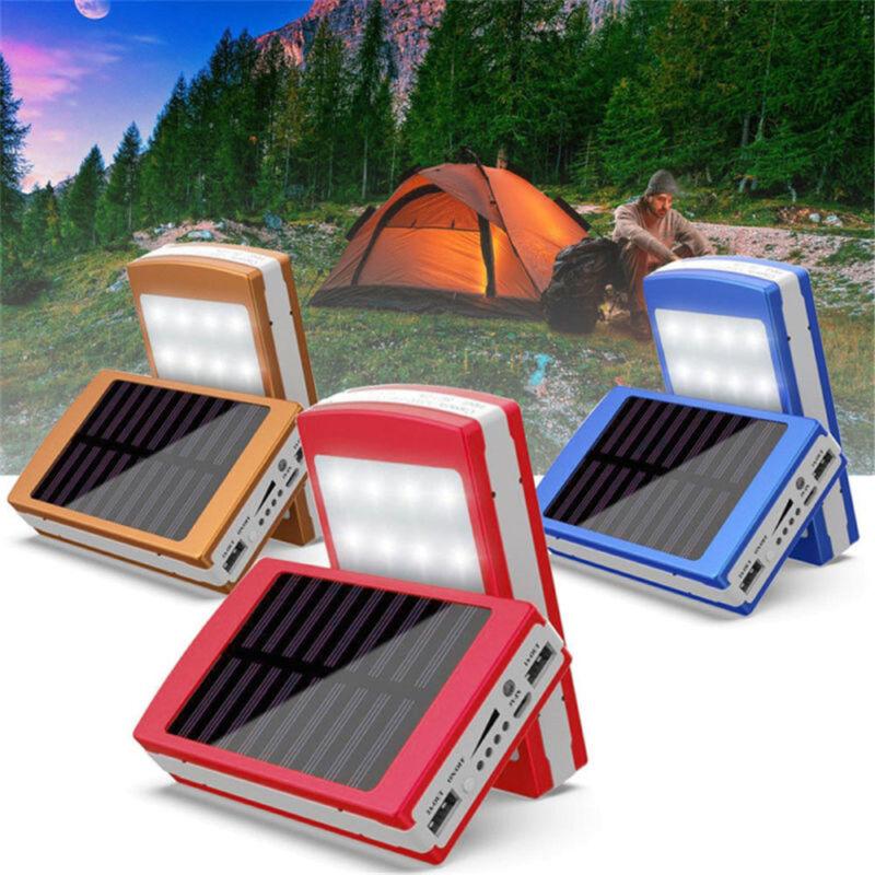 Portable 300000mAh 20 LED Solar Power Bank For Phone Dual US