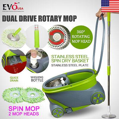 360  Spin Rotating Head Easy Magic Floor Mop Bucket With 2 Microfiber Heads 2017