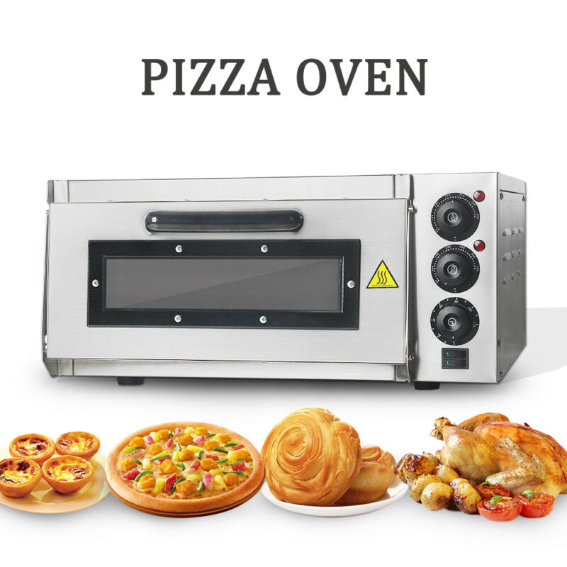220V Commercial Double Ceramic Deck Pizza Oven Dual Temperature Control CE