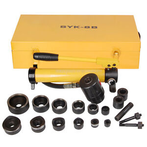 10 Ton Hydraulic Knockout Punch Driver Kit Hole Tool Hand Pump Conduit 1/2 to 2
