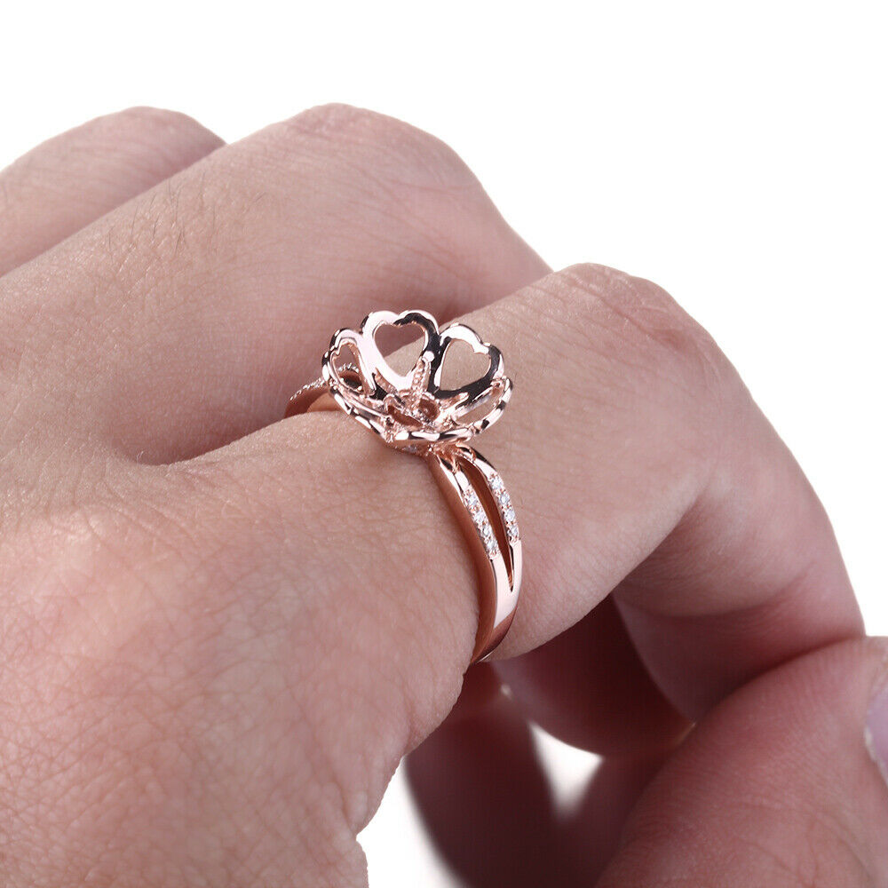 Pearl 8mm Round Semi-Mount Setting Solid 10K Rose Gold Engagement ...