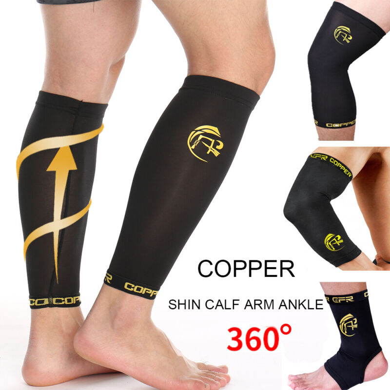 Copper Infused Calf Support Brace Compression Sleeve Socks L