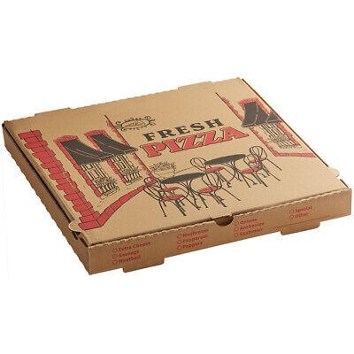 50case 16 X 16 X 2 Kraft Corrugated Pizza Box Square Cafe Design Printed