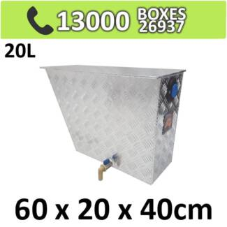 Aluminium Under Tray WATER TANK, DUAL SIDED TAP 20L 4mm Thick