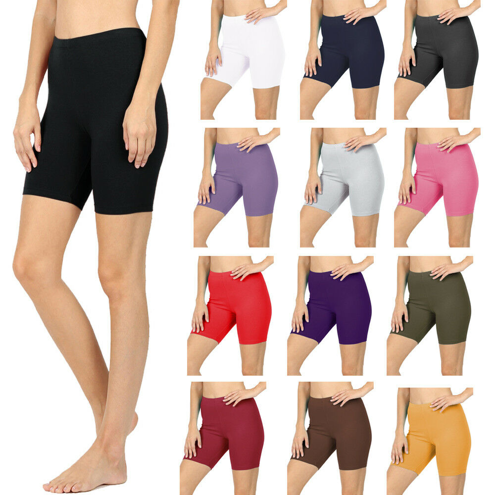 Womens Cotton Spandex Solid Biker Shorts Yoga Mid Thigh Berm