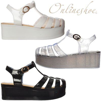 d6d85294439 WOMENS LADIES JELLY GLADIATOR WEDGES SANDALS CHUNKY PLATFORM WHITE BLACK  CLEAR