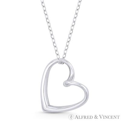 Sideways Open Heart Love Charm Pendant & Necklace in Solid .925 Sterling Silver Charm Pendant Love Jewelry
