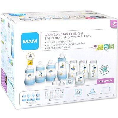MAM: XL Starterset blau Babyflaschen 8 Flaschen Sauger Schnuller Anti-Kolik