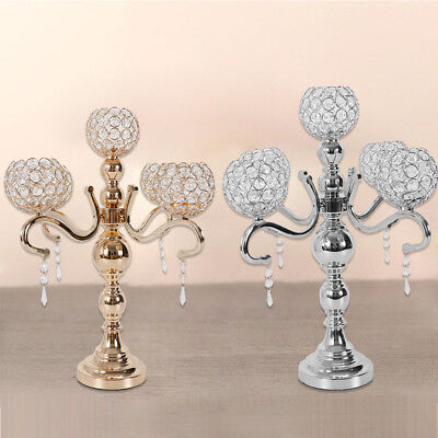 Crystal Candelabras Wedding Centerpieces 5 Arm Votive Candle Holders 55CM USA - Modern Wedding Centerpieces