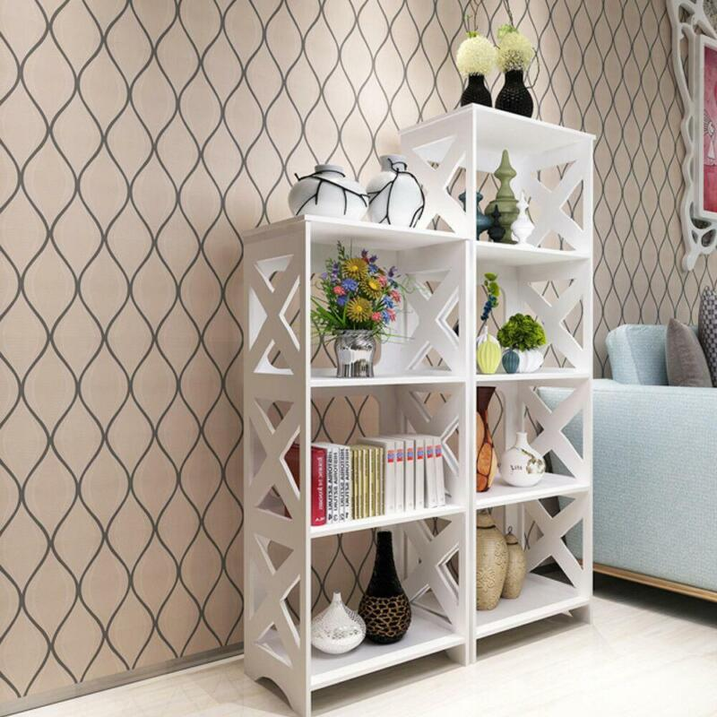 3 Tier Shelf Rack Storage Organizer Bookcase Display WPC Wood Bookshelf