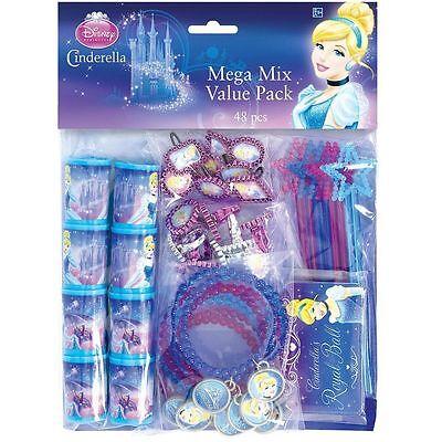Disney Princess Cinderella Birthday Party Supplies 48PC Mega Value Favor - Cinderella Birthday Supplies