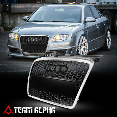 Fit 2005-2008 Audi A4/B7Black/Silver ABS Bumper Grille Grill