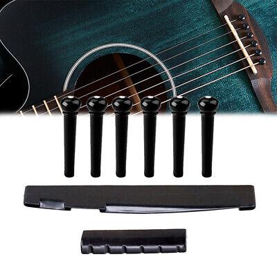 1 Set Acoustic Guitar Bridge Saddle Pins Nut Parts Universal Black