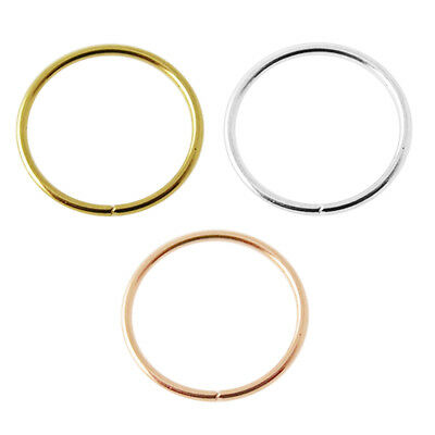 - 22G 14K Solid Gold Seamless Continuous Nose Hoop Ring Piercing Jewelry