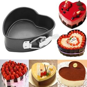 DIY Heart-Shaped Cake Tin Non Stick Spring Form Loose Base Baking Pan Tray
