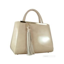 Carbotti Designer Italian Leather Tote Bag – Beige