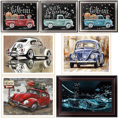 Vintage Car Decor (Vintage Car DIY 5D Diamond Painting Embroidery Truck Cross Stitch Home)