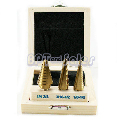 New 3PC Step Bit Set TITANIUM UNI Bit Reamer Drill Bit Set Aluminum Metal Cut