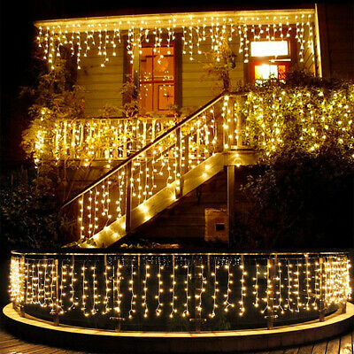 13-130FT LED Fairy Icicle Curtain Lights Party Indoor Outdoor Xmas Decoration - Xmas Lights Outdoor