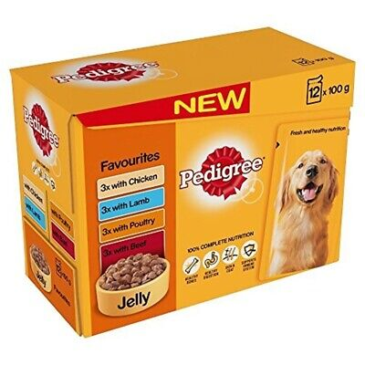 Pedigree Adult Dog Wet Food With Favourites In Jelly, 12 x 100g