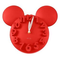 Modern Design Home Decor Decoration Mickey Mouse Big Digit 3D Wall Clock -Red