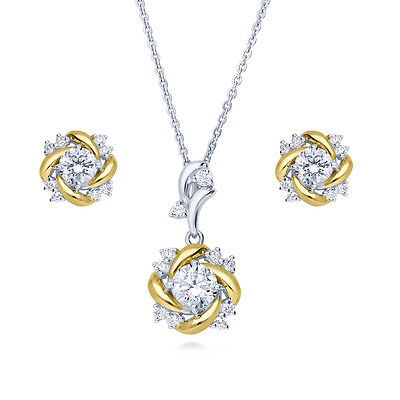 BERRICLE Sterling Silver CZ Flower Fashion Necklace and Earrings Set