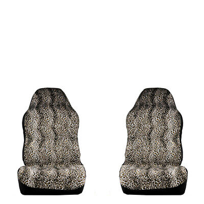 Universal Car Fabric Seat Cover Protector Leopard Animal Print Protector Pair ()