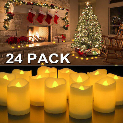 24/48/72/96PC Flameless Votive Candles Battery Operated Flickering LED Tea Light](Battery Tealight)