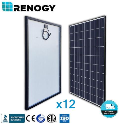 12 Pcs Renogy 270 Watt 24 Volt Solar Panel Off On Grid Power 3240w 3000w 24v 48v
