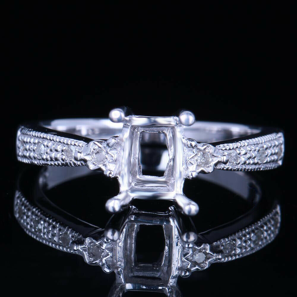 Cushion Cut 7x5mm 925 Sterling Silver Solitaire Semi Mount Ring Engagement Ring