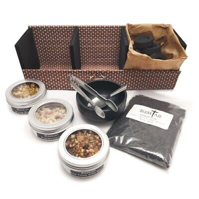 BLESSIAH Incense Resin Kit Set in Bamboo Gift Box with Cast Iron Burner 3 Resins