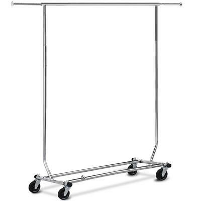 Adjustable Garment Rack Clothing Rack Single Rail Wcasters