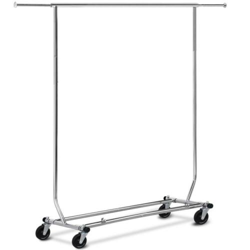 Adjustable Garment Rack Clothing Rack Single Rail W/Casters
