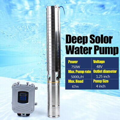 4 Dc Deep Well Solar Water Pump 48v 0.75kw Submersible Mppt Controller Kit Bore