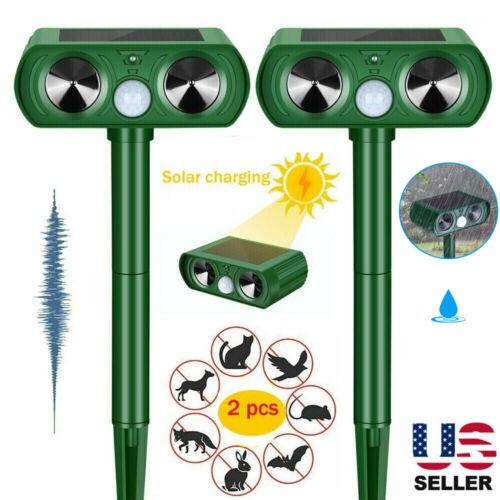 2 PK Animal Repeller Ultrasonic Solar Power Outdoor Pest Cat Mice Deer Sensor