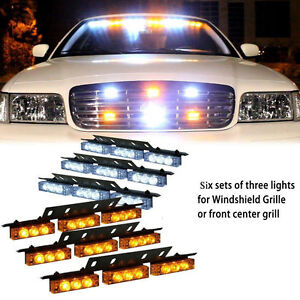 54-LED White Amber Emergency Warning Strobe Lights 6 Bars Deck Dash Grille