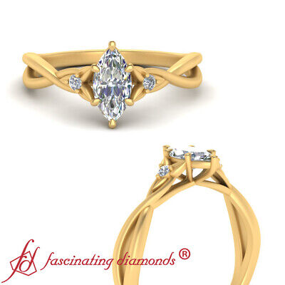Yellow Gold 3 Stone Floral Engagement Ring With Marquise Cut Diamond 0.50 Carat