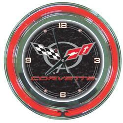 Trademark Global Wall Clock 14 Inch Corvette Analog Neon Multi Colored Indoor