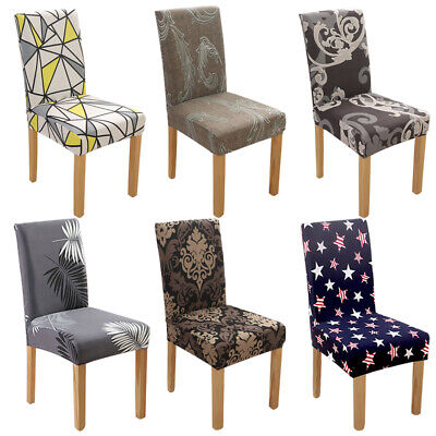 1/4/6 Spandex Polyester Printed Home Dining Stretch Chair Covers Seat Slipcover  ()