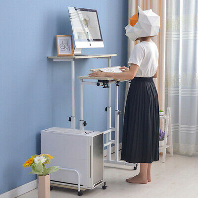 Stand Up Laptop Table Lift Adjustable Height Computer Desk Rolling Workstation