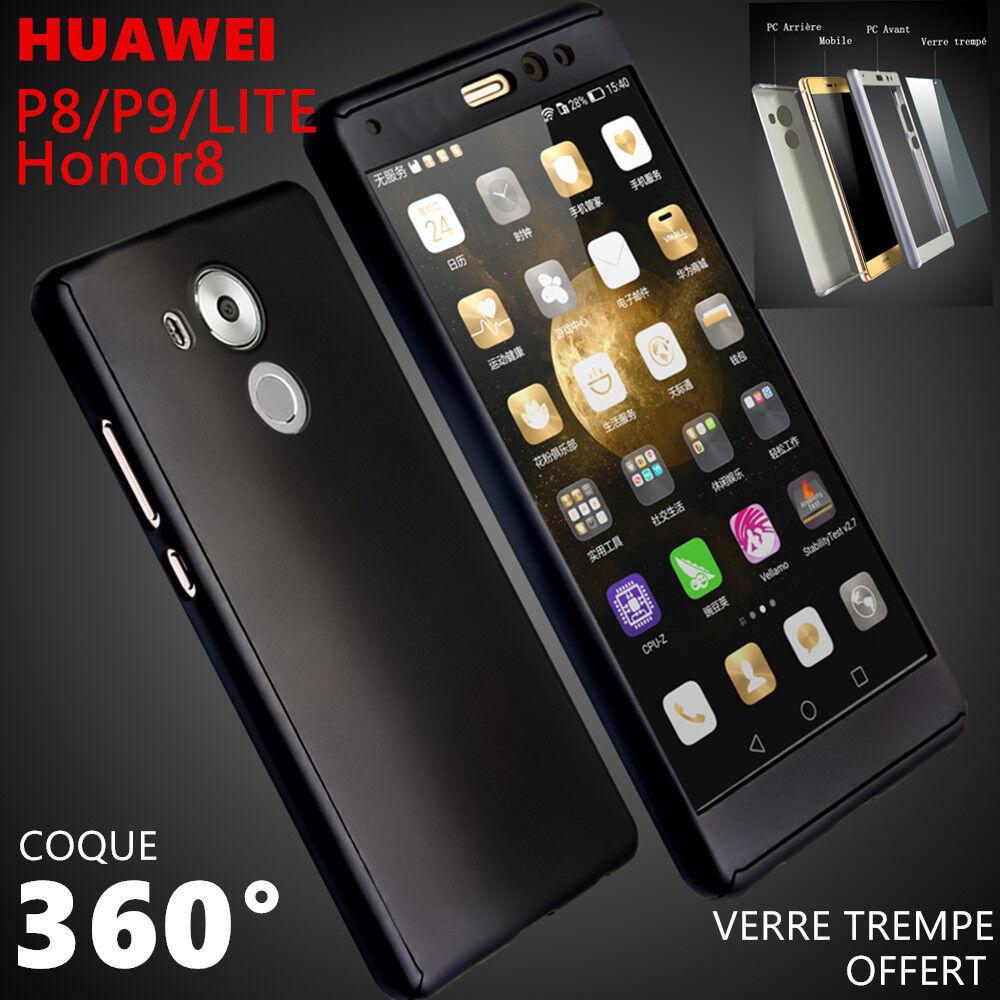 Etui Coque + Verre Trempe Protection Intégrale 360 HUAWEI p10 p8 p9 lite honor 9