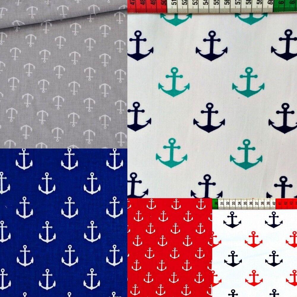 Baumwollstoff Baumwolle Stoff Anker Maritim Meterware Kind 160cm breit 7,98m