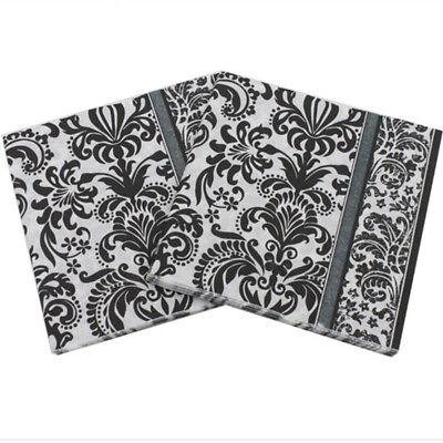20pcs 33*33cm Food Grade Black And White Pattern Paper Napkins (Black Napkins)